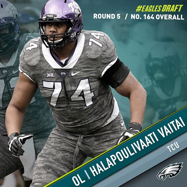 With the 164th pick in the draft, the select OL Halapoulivaati Vaitai. Welcome to Philadelphia!