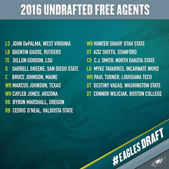 agree to terms with 16 undrafted free agents. |
